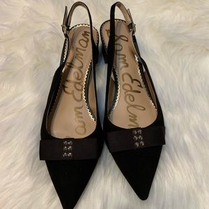Sam Edelman black suede sling back shoes, size 8